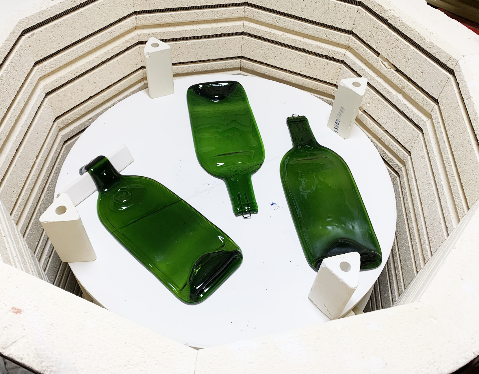 Gorgeous Green melted wine bottles for serving your favorite snack!
