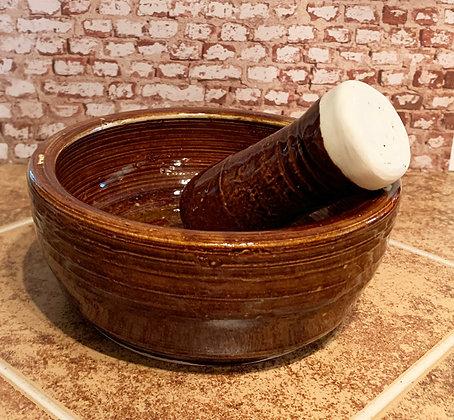 Hand Thrown Stoneware Mortar & Pestle - Amber