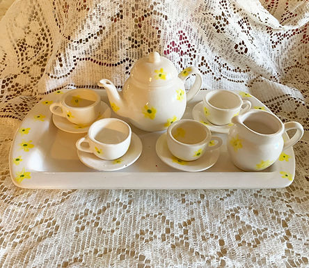 Handmade and Hand Painted Heirloom Childs Tea Set-White/Yellow