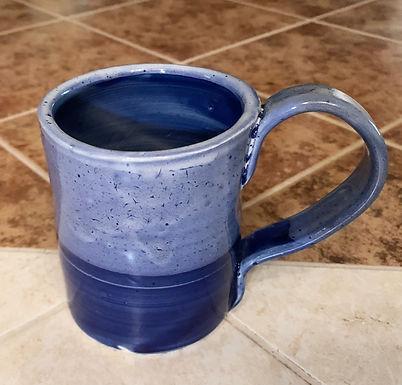 Wheel Thrown Stoneware Mug- Cobalt Blue dipped in White