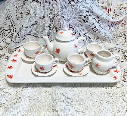 Handmade and Hand Painted Heirloom Childs Tea Set-White/Red