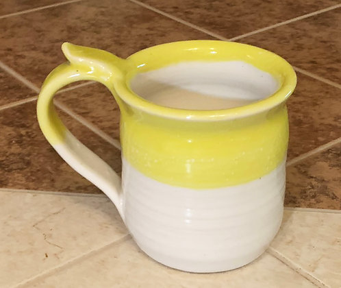 Wheel Thrown Stoneware Mug -White dipped in Yellow
