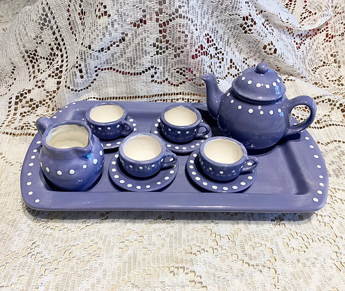 Handmade and Hand Painted Heirloom Childs Tea Set-Purple