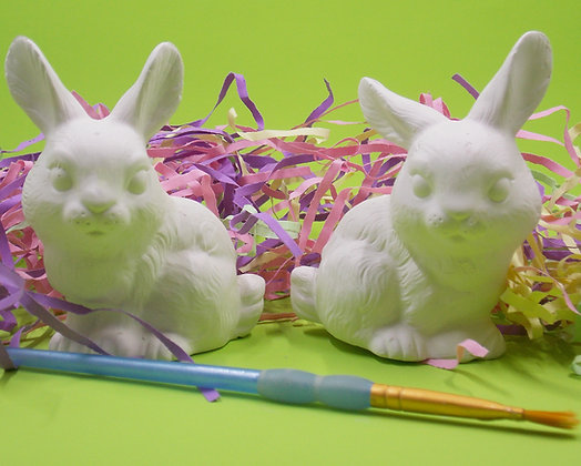 Cute Easter Bunnies, Bisque, Paint your Own, Realistic Bunnies