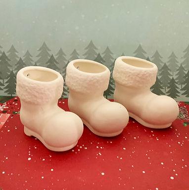 Santa Boots -Set of 3 Ceramic PYOP kits, Christmas Gift, DIY