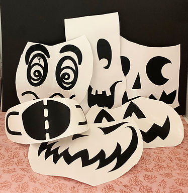 Removable Vinyl Funny Pumpkin Faces-set of  6