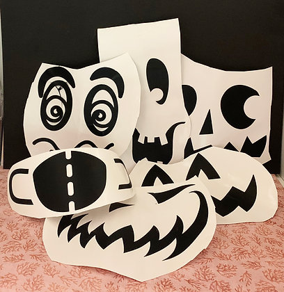 Removable Vinyl Funny Pumpkin Faces-set of  6