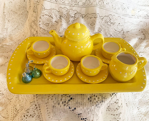 Handmade and Hand Painted Heirloom Childs Tea Set-Sunflower Yellow