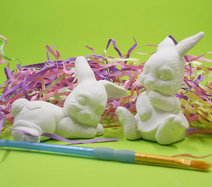 Small Bisque Easter Bunnies, Set of 2, Easter Decoration