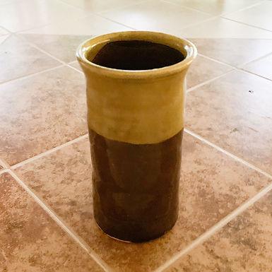 Hand Thrown Stoneware Vase -Amber with Yellow rim