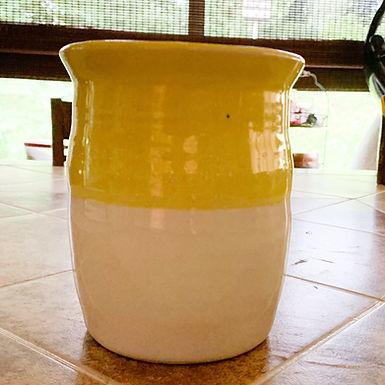 Hand Thrown Stoneware Vase/Utensil holder - Blue with White Rim