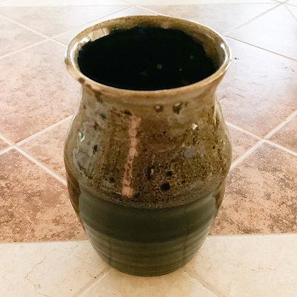 Hand Thrown Stoneware Vase -Black with Amber