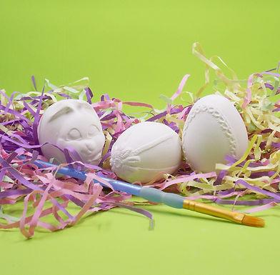 Cute Decorative Ceramic Eggs, Bisque Paint Your own Kits