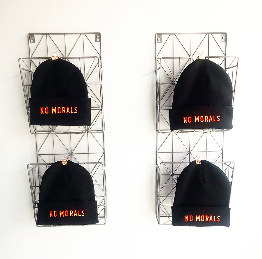 No Morals Tattoos hand embroidered soft touch, double layer knit beanie, in a black and orange colour way.