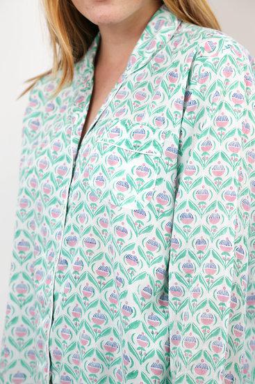 Green 'Cupcake' Print Handblocked Pyjamas