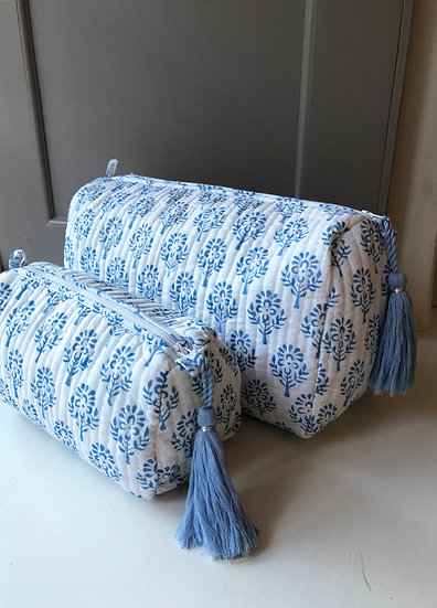 Blue Sprig Handblocked Quilted Cosmetic Bag