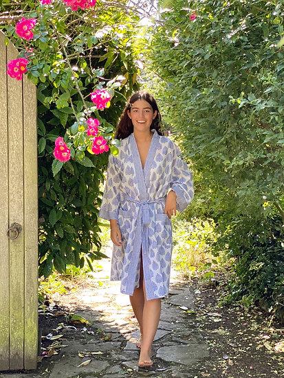 Blue Leaf Print Robe