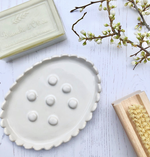 Handmade Scalloped Ceramic Soap Dish