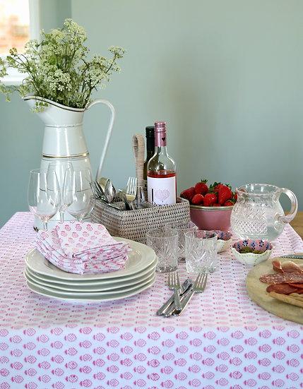 Pink Pineapple Handblocked Tablecloth