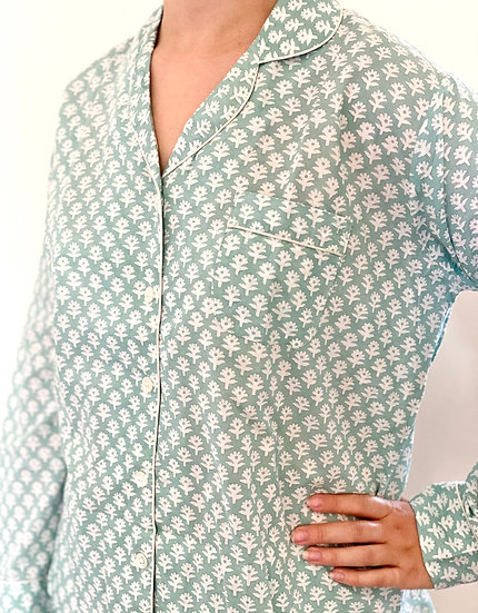 Green Flower Bhuti Reverse Long Pyjamas