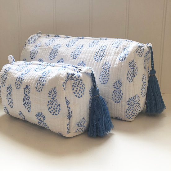Blue Pineapple Print Handblocked Quilted Cosmetic Bag