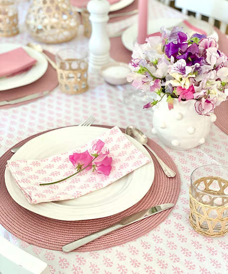 Blossom Pink Clove Handblocked Tablecloth