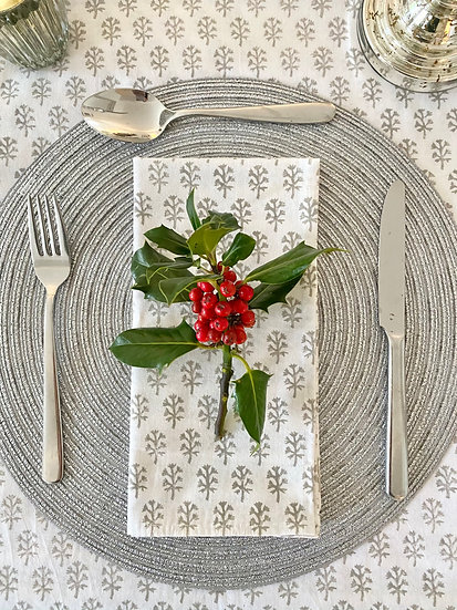 Grey Clove Handblocked Tablecloth