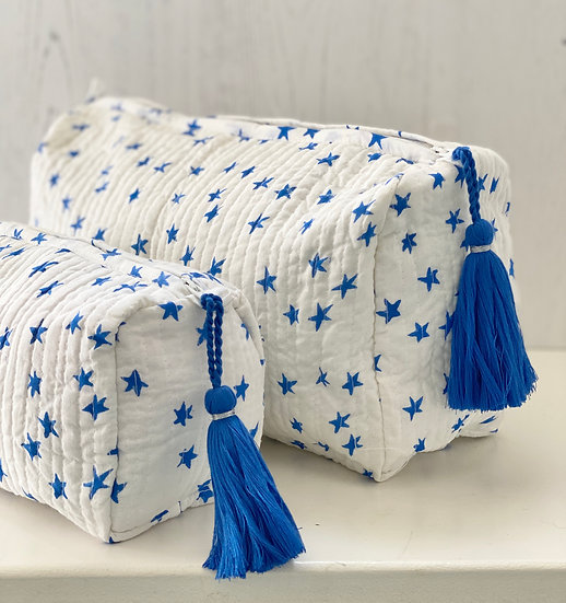Blue Star Handblock Quilted Cosmetic Bag