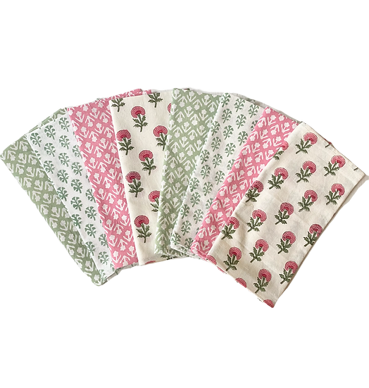 Green and Pink Mixed Napkins