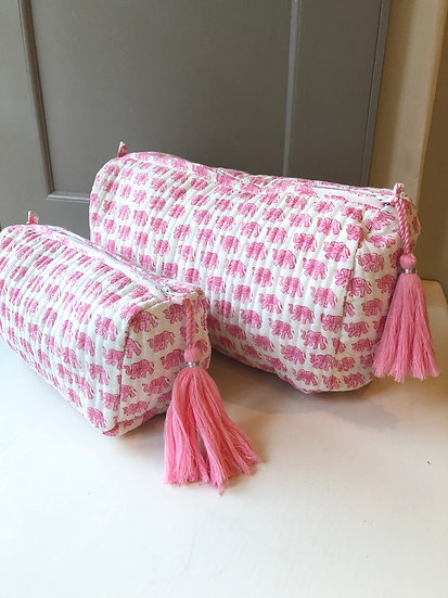 Pink Elephant Handblocked Quilted Cosmetic Bag