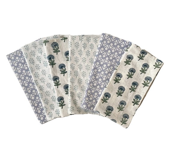 Blue and Green Mixed Napkins (6 pack)