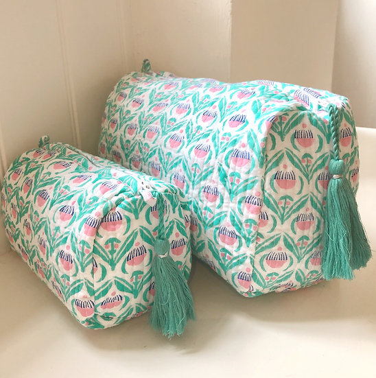 Green 'Cupcake' Handblocked Quilted Cosmetic Bag