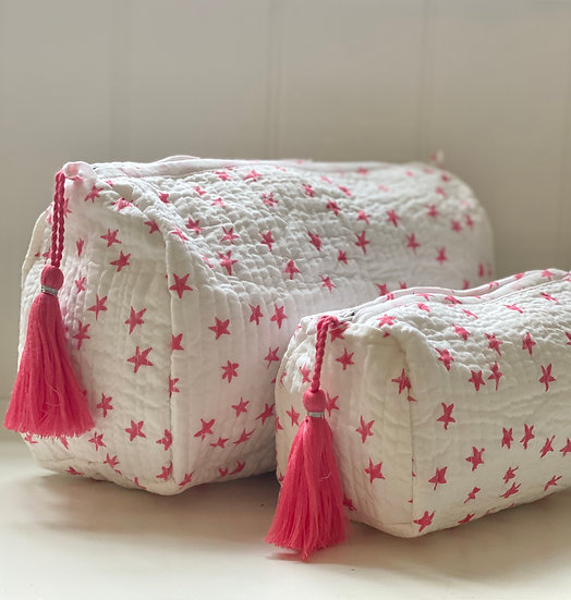 Pink Star Handblock Quilted Cosmetic Bag
