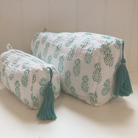 Green Pineapple Handblocked Quilted Cosmetic Bag