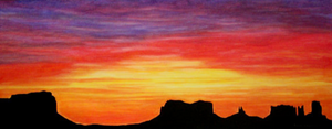 Southwest glowing sunrise painting with reds, yellows and orange colors.