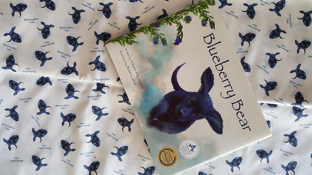 Custom fabric imprinted with Blueberry Bear