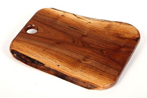 "12"" Walnut serving tray/ cutting board natural shape edge"