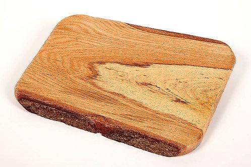 "24"" Spalted Oak serving tray/ cutting board w/ bark edge"