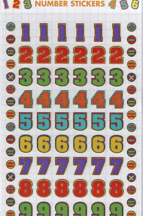 COLOURFUL NUMBERS STICKERS