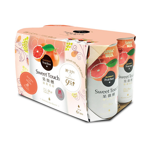 Sweet Touch Grape Fruit Beer 6's x 330ml, Alc. 3.5%