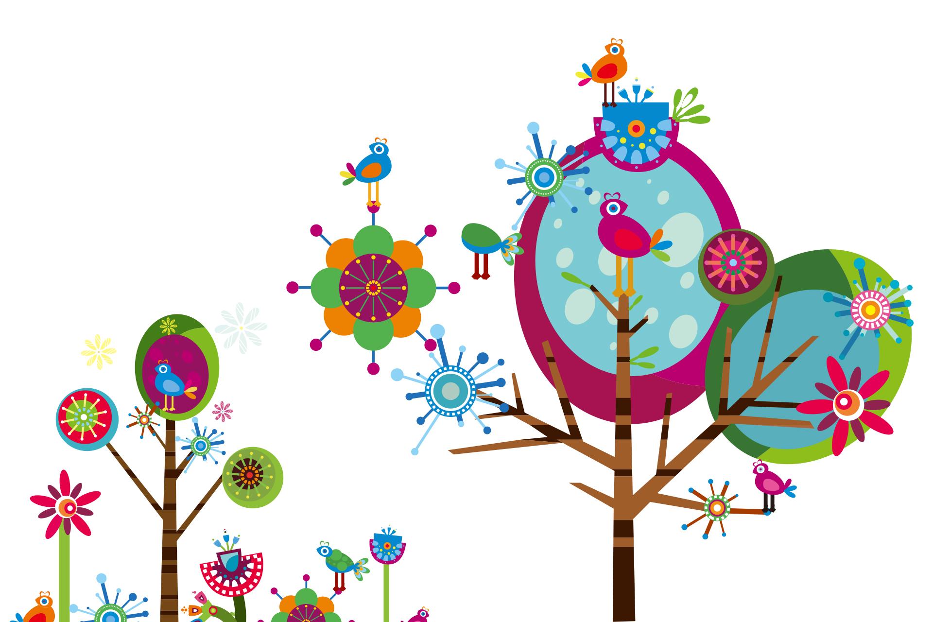 꽃, 나무, 새
