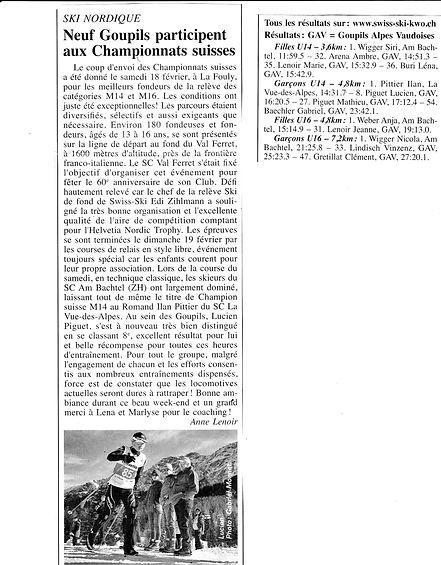Championnats suisses La Fouly - 18-19.02