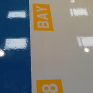Bay numbers installed on the end of pallet bays