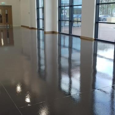 Trailer showroom floor in Cheshire painted in dark grey