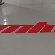 Company logo installed in red