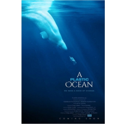 Foto de uma baleia beluga mergulhando no mar e indo em direção a um objeto de plástico. No canto inferior direito estão os dados do documentário.