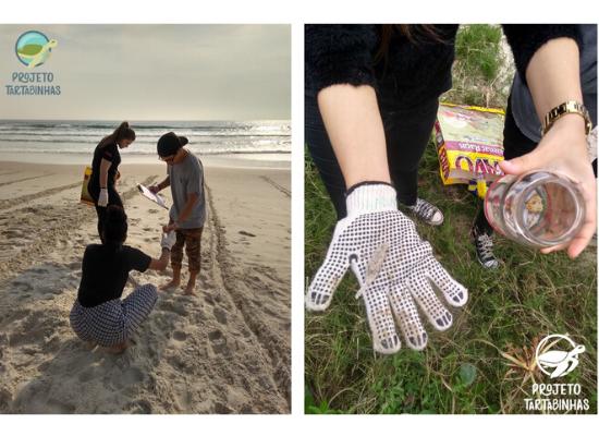 Duas fotos da coleta de praia. 1° imagem: mostra as mãos de uma aluna segurando na mão com luva um pequeno fragmento plástico, na outra mão sem luva está segurando o recipiente de vidro onde foram armazenados os micro resíduos. A imagem é de cima para baixo, com o chão de restinga, onde há também uma das sacolas utilizadas para recolher os lixos maiores. A sacola é retornável produzida a partir de um saco de ração. 2° imagem: na praia com o mar ao fundo, na areia há as marcações desenhadas dos transectos. Dentro de um transecto tem 3 alunos, um está aguaxado entregando um resíduo para o outro aluno que está em pé e com a planilha de anotação dos lixos. Outra aluna está em pé olhando para o chão e segurando uma das sacolas retornáveis para coleta dos resíduos maiores.