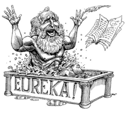 """Desenho preto e branco de um senhor surpreso e alegre dentro de uma banheira que possui arquitetura grega e a palavra """"Eureka!"""" escrita na lateral."""