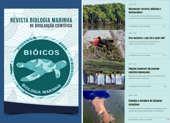 À esquerda da fotografia está a capa da revista Biologia Marinha de Divulgação Científica do Instituto Bióicos, que leva o nome na parte superior e, abaixo do escrito, está o logo do Instituto, que possui uma tartaruga ao centro. À direita da foto, estão exemplos de artigos da revista, tais como aparecem no site: individualmente.