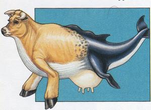 Ilustração mostrando um animal fictício formado pela cabeça e o tronco de uma vaca e a cauda de uma baleia.